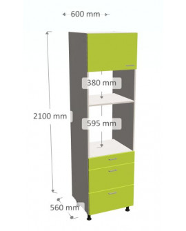 LOWER COLUMN FOR BUILDING A OVEN AND A MICROWAVE WITH TWO DRAWERS AND A CONFIGURABLE FLAP